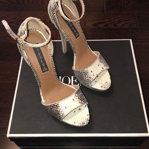 Steven by Steve Madden heels in cream and brown.
